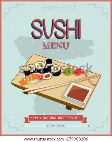 Japanese cuisine restaurant sushi menu cover template in vintage style. Vector sushi on the plate and chopsticks. - stock vector