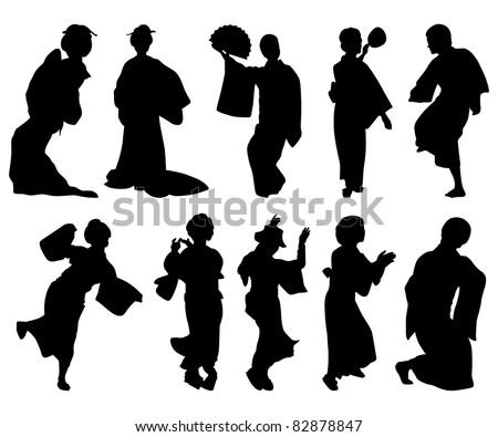 Japanese dancer silhouettes - stock vector
