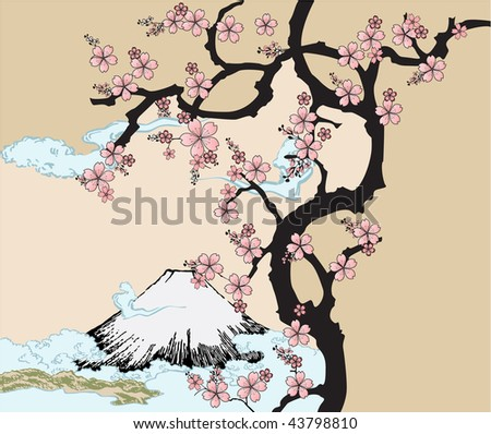Japanese design with Fuji mountain and Sakua Tree. - stock vector