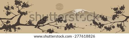 Japanese design with Fuji mountain and Sakura Tree. - stock vector