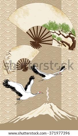 Japanese fan, cranes, Mount Fuji - stock vector