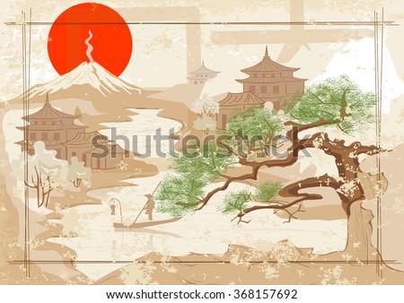 Japanese fisherman on the river. Mount, village, sunset. - stock vector