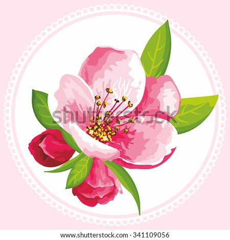 Japanese flowering cherry can be used for women's textile, wedding invitation, mother's day, romantic texture, kitchen tiles