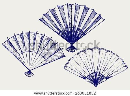 Japanese folding fan. Doodle style - stock vector