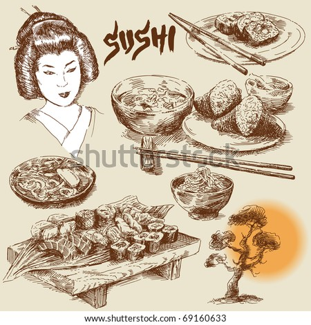 japanese food-original hand drawn collection - stock vector