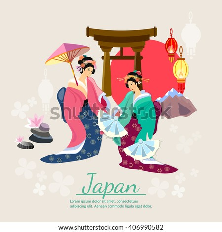 Japanese geisha japanese tradition and culture vector illustration - stock vector
