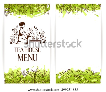 Japanese green tea ceremony logo. Menu template.  Vector banner collection. - stock vector