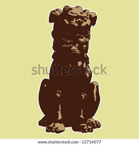 Japanese guardian lion - stock vector