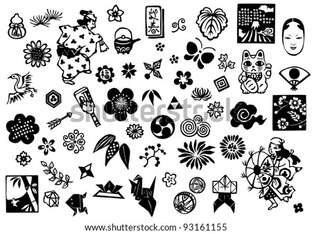 Japanese icons and marks - stock vector