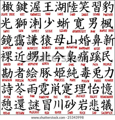 Japanese kanji - chinese symbols 7 - stock vector