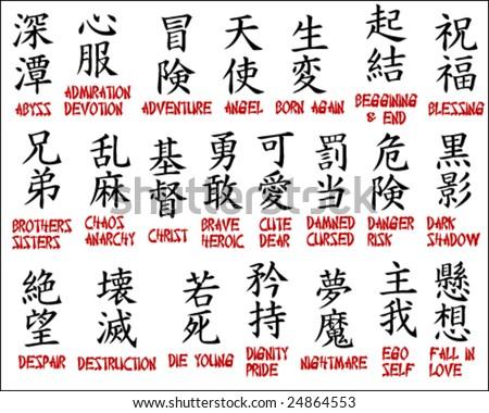Japanese kanji - Chinese symbols part 2 - stock vector