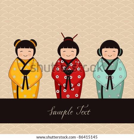 japanese kokeshi characters - dolls - stock vector