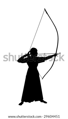 Japanese Kyudo archer in vector art