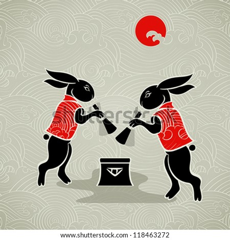 Japanese moon rabbits making mochi (rice cakes) by mortal and pestle - stock vector