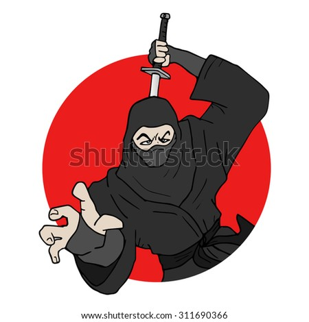 japanese ninja illustration - stock vector