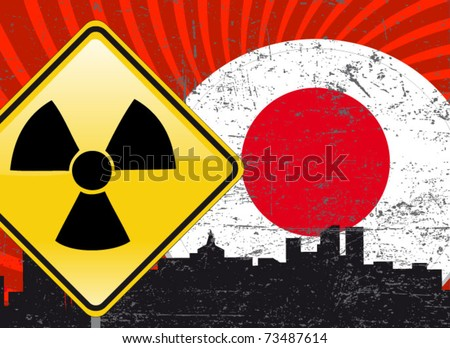 japanese nuclear crisis illustration - stock vector