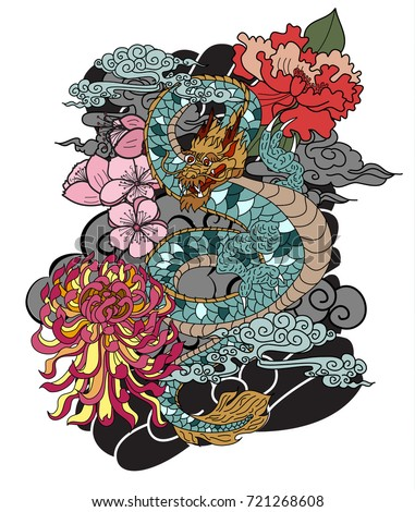 Japanese old dragon tattoo style peony stock vector for Traditional japanese tattoo rules