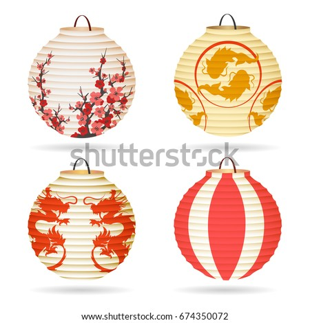 Japanese Paper Lantern Set Isolated On White Or Vector Chinese Hanging Lanterns For Happy Mid