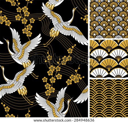Japanese pattern set. Seamless vector ornaments with traditional motives. - stock vector