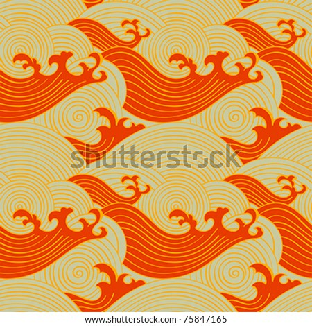 Japanese seamless waves pattern in warm colors - stock vector