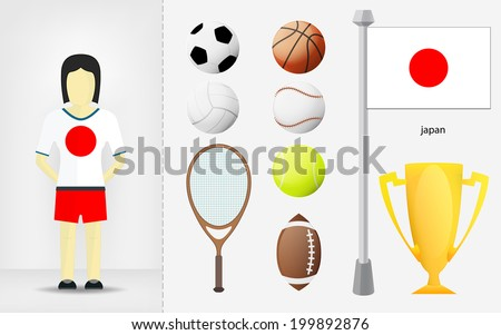 Japanese sportswoman with sport equipment collection vector illustration - stock vector