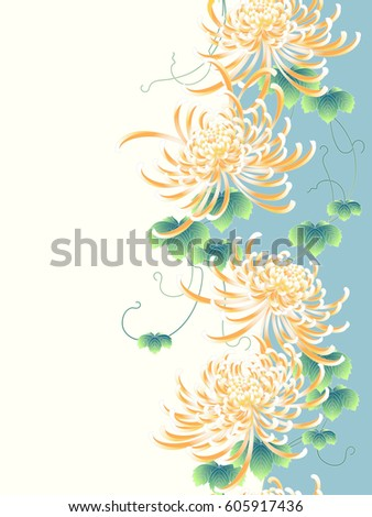 Japanese style Chrysanthemum flower pattern