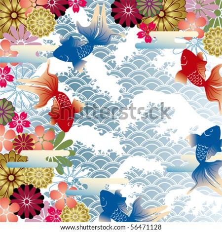 Japanese style retro background - stock vector