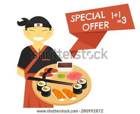 Japanese sushi chef wearing kimono with special offer banner isolated on white. Text outlined free font Chelsea Market - stock vector