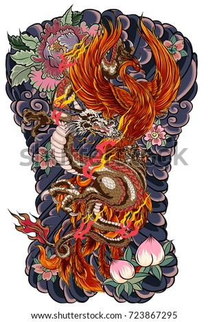 japanese tattoo design full back body stock vector 723867295 shutterstock. Black Bedroom Furniture Sets. Home Design Ideas