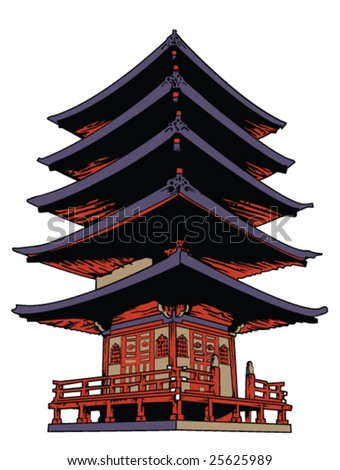 japanese temple - stock vector