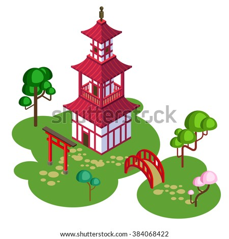 Japanese temple/Temple on the island/Isometric Japan. Japanese island,  Japanese temple on the island/Japanese tower, isometric temple, Japanese palace, japanese castle, buddhist temple, Shinto temple - stock vector