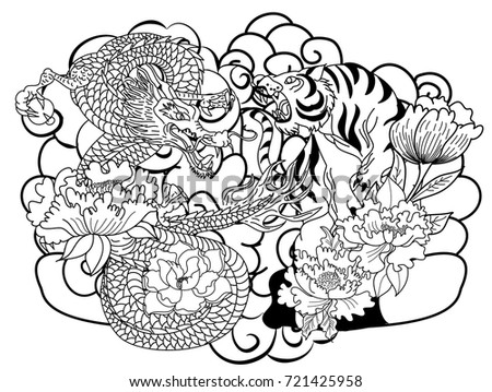 Japanese Tiger And Dragon With Cloud Flower Vector Illustration For Tattoo Design