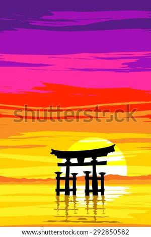 Japanese Tori Gate at Sunrise. Based on Itsukushima Shrine at Miyajima. EPS10 Vector - stock vector