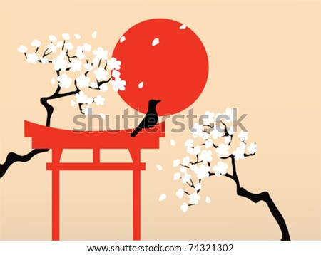 "Japanese torii(""bird perch"") with a bird and sakura branches"