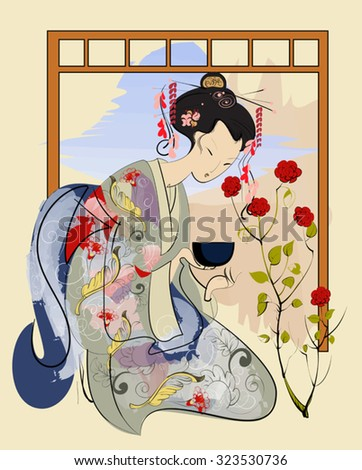 Japanese woman preparing dishes for the 