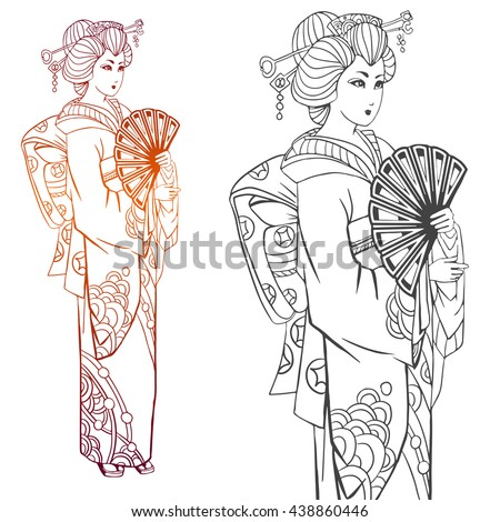 Japanese women in kimono. Adult coloring book pages or tattoo. Ink illustration, contour drawing for coloring. Hand drawn artwork. - stock vector