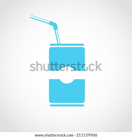 Jar drink with a straw Icon Isolated on White Background - stock vector