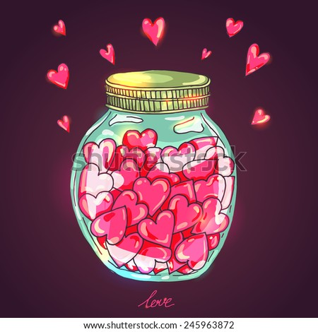 Jar full of love - vector illustration with shiny hearts for Valentines day  - stock vector