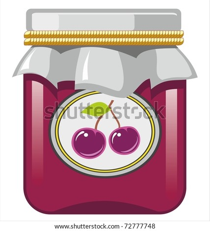 Jar of cherry jam - stock vector