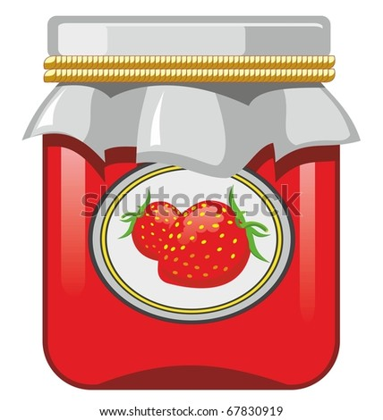 Jar of strawberry jam and strawberry - stock vector