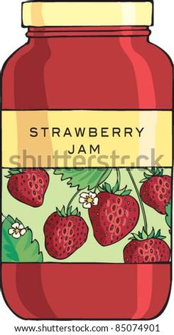 Jar of strawberry jam jelly - stock vector