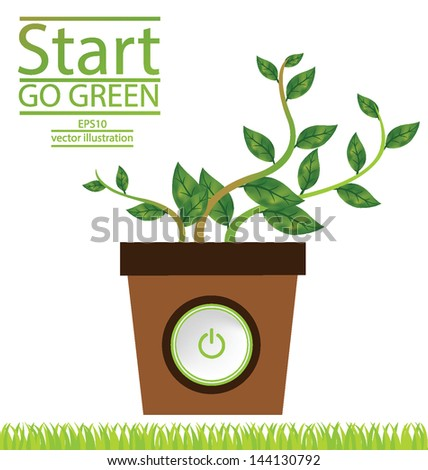 Jardiniere. Start button. Go green. Save world. vector illustration. - stock vector