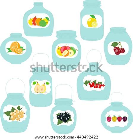 Organic Food Babies Vector Poster Juices เวกเตอร์สต็อก