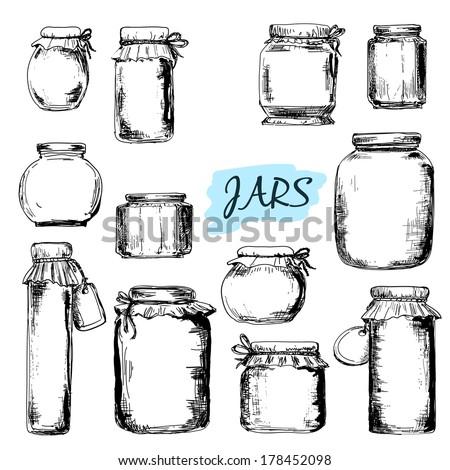 Jars Set Hand Drawn Graphic Illustrations Stock Vector 178452098