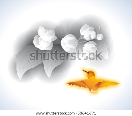 Jasmin and birdie - stock vector