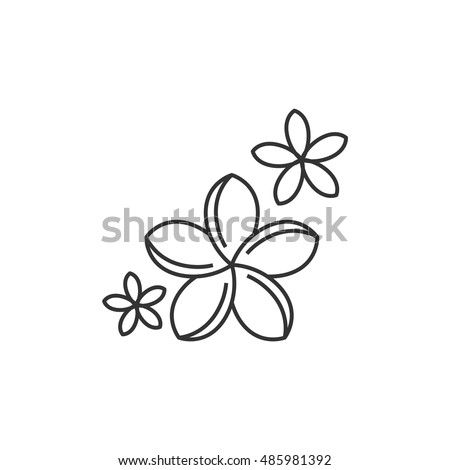 Jasmine flowers icon in thin outline style. Spa, aromatherapy