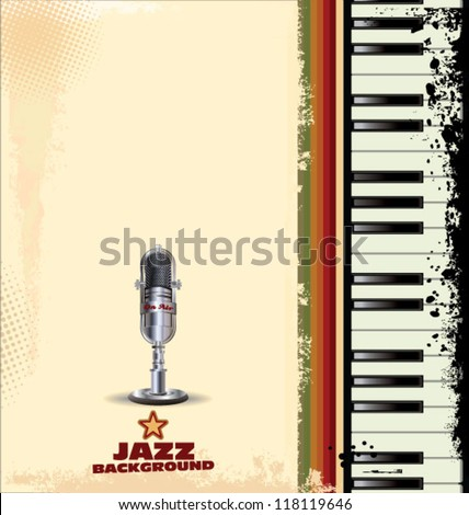 Jazz background with piano key and old microphone - stock vector