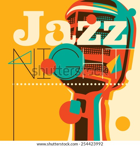 Jazz background with retro microphone. Vector illustration. - stock vector