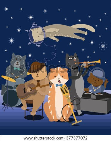 jazz band. cats musicians