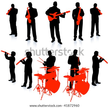 jazz band on white background - stock vector